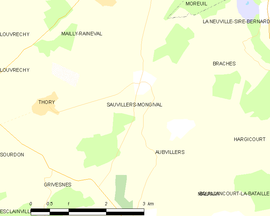 Mapa obce Sauvillers-Mongival