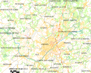Map of the commune of Limoges.