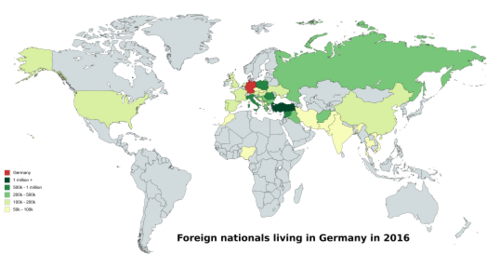 Germany is home to the second-highest number of international migrants. Map foreign nationals germany 2016.png