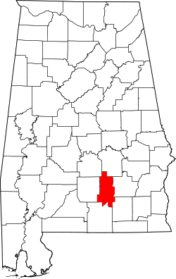 map of Alabama highlighting Crenshaw County