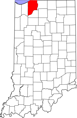 map of Indiana highlighting LaPorte County