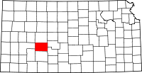 Map of Канзас highlighting Hodgeman County