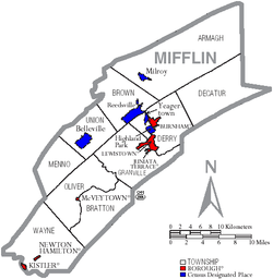 Map of Mifflin County Pennsylvania With Municipal and Township Labels.png