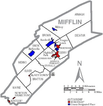 Mifflin County, Pennsylvania - Map of Mifflin County, Pennsylvania with Municipal Labels showing Boroughs (red), Townships (white), and Census-designated places (blue).