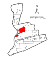 Map of Northumberland County, Pennsylvania highlighting Upper Augusta Township