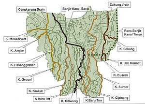 "Ci Liwung - Ci Liwung (""K. Ciliwung ""), bottom center in the map of rivers and canals of Jakarta (2012)"