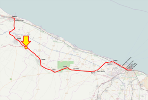 Andria–Corato train collision - Route of the Bari–Barletta line, with location of the incident marked