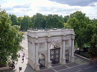 Marble Arch - Aerial view of the arch and its surroundings