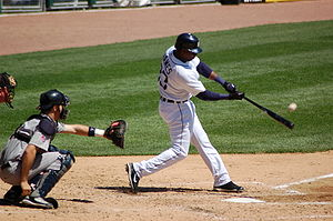 Batting (baseball) - Marcus Thames of the Detroit Tigers making contact with the baseball while batting in a game on April 29, 2007 against the Minnesota Twins.