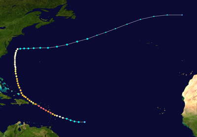 Track map of Hurricane Maria of the 2017 Atlantic hurricane season. The points show the location of the storm at 6-hour intervals. The colour represents the storm's maximum sustained wind speeds as classified in the Saffir–Simpson scale (see below), and the shape of the data points represent the nature of the storm. This track however does not show the full extent of areas that have been severely impacted, which extends to more than 100 km from the track.