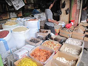 Krupuk - Variety of raw unfried krupuk sold at Indonesian traditional market, Bengkulu province