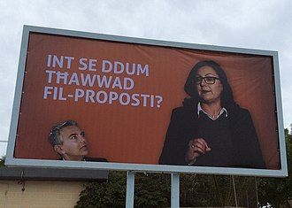 Maltese general election, 2017 - Labour Party poster implying that Simon Busuttil and Marlene Farrugia disagree on proposals