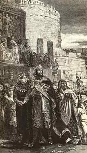 Hugh of Italy - Engraving depicting the wedding of Hugh and Marozia, from Francesco Bertolini, Historia de Roma.