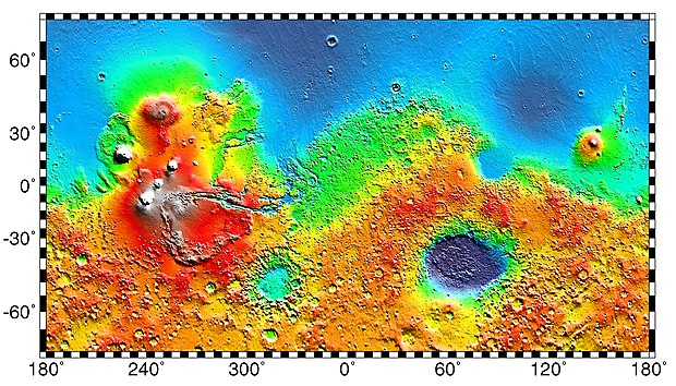 Interactive image map of the global topography of Mars. Hover your mouse over the image to see the names of over 60 prominent geographic features, and click to link to them. Coloring of the base map indicates relative elevations, based on data from the Mars Orbiter Laser Altimeter on NASA's Mars Global Surveyor. Whites and browns indicate the highest elevations (+12 to +8 km); followed by pinks and reds (+8 to +3 km); yellow is 0 km; greens and blues are lower elevations (down to -8 km). Axes are latitude and longitude; Polar regions are noted. (See also: Mars Rovers map and Mars Memorial map) (view * discuss) Mars Map.JPG