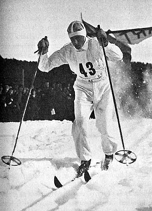 Cross-country skiing (sport) - Swedish competitor, Martin Matsbo, in April, 1935