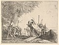 Mary, helped by Joseph and an angel, stepping from a boat to the shore, an angel steadies a donkey before her, from the series 'The Flight into Egypt' MET DP832535.jpg