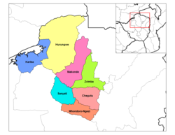 Zvimba District (light green) in Mashonaland West Province