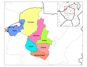 Mashonaland West Province - Districts of Mashonaland West