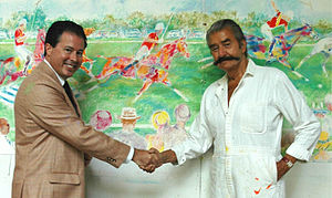 LeRoy Neiman - David McLane with Neiman (right) and the mural he created for Triple Crown of Polo