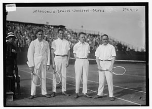 Maurice McLoughlin - Maurice McLoughlin (1890-1957), Henry Ward Dawson (1890-?), William Johnston (1894-1946), Clarence Griffin (1888-1973) on August 30, 1916 at the national men's doubles championship.