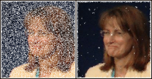 Median filter - Use of a median filter to improve an image severely corrupted by defective pixels