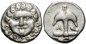 Danake - The Gorgon's head is a frequent numismatic icon (here with anchor on reverse) that may appear on a danake