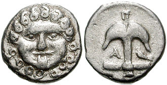 Charon's obol - Medusa coin from the Black Sea region, of a type sometimes used as Charon's obol, with anchor and crustacean on reverse