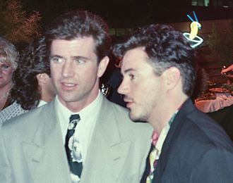 Air America (film) - Robert Downey Jr. and Mel Gibson attending the film's 1990 premiere at Grauman's Chinese Theatre in Los Angeles.
