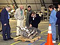 Members of the Columbia Accident Investigation Board examine pieces of Columbia debris in the RLV Hangar.jpg