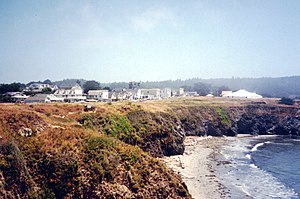 Mendocino, California - View of Mendocino from the Northwest with the Mendocino Music Festival tent to the right