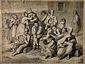Mentally ill patients in the garden of an asylum, a warden l Wellcome V0017103.jpg