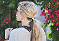 Messy side fishtails in low ponytail.jpg