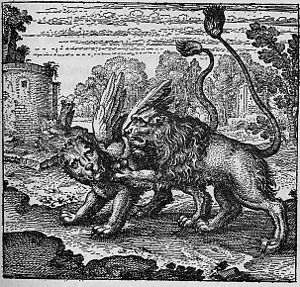 Winged lion - Winged lions from the emblem book, Atalanta Fugiens, by Michael Maier, first published in 1617