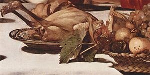 Supper at Emmaus (Caravaggio, London) - Image: Michelangelo Caravaggio 014