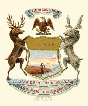 Seal of Michigan - Historical coat of arms (1876)