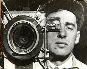 Mikhail Kaufman with his camera