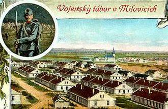 Milovice (Nymburk District) - Image: Milovice 1908