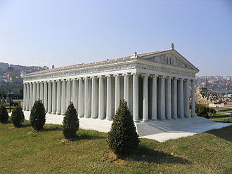 Temple of Artemis - This model of the Temple of Artemis, at Miniatürk Park, Istanbul, Turkey, attempts to recreate the probable appearance of the first temple.