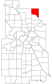 Location of Waite Park within the U.S. city of Minneapolis