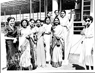Femina Miss India - Miss India 1952 Contestants posing for the photographers at the Brabourne Stadium in Mumbai. Miss India 1952 winner, Indrani Rahman (third from left) and the Runner Up Suryakumari (sixth from left)