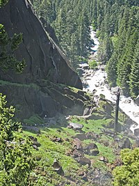 Mist Trail along the Merced River. View west, looking down from the lip of Vernal Falls. - panoramio.jpg