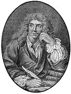 Molière, engraved frontispiece to his Works.