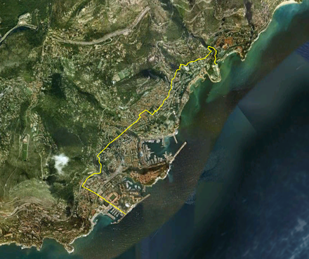Satellite view of Monaco, with the France–Monaco border shown in yellow
