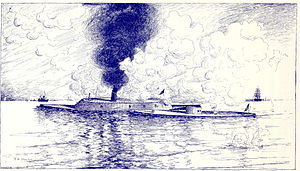 English: Monitor, Union warship, as drawn by S...
