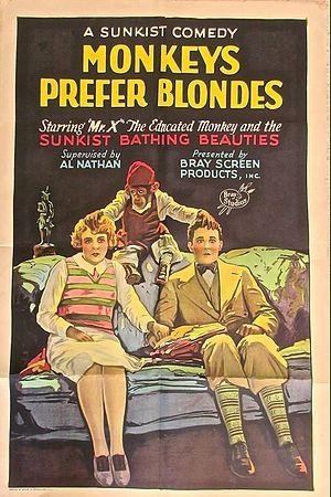 Bray Productions - Poster for a 1926 Bray Studios film short, Monkeys Prefer Blondes