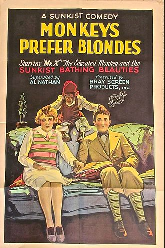 Bray Productions - Poster for a 1926 Bray Studios film short, Monkeys Prefer Blondes