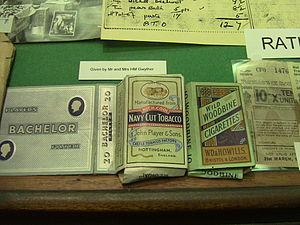 Monmouth Regimental Museum - World War II cigarette packages in the Monmouth Regimental Museum