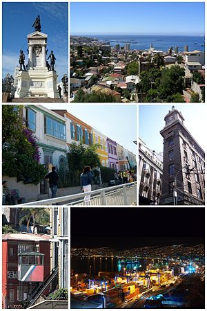 "Valparaíso. Port of Valparaiso, cerro Artillería house, Carampangue Street, Monument to the Heroes of Iquique, Funicular Baron, ""Edificio de la Aduana"" and a Trolley, Logo of Valparaiso, Sotomayor Square Building, Paseo Atkinson."