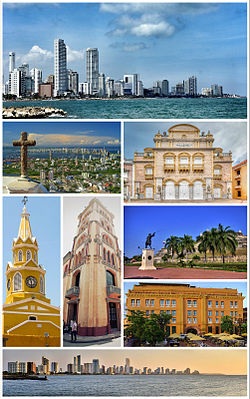 Top: Bocagrande Harbour. Second row: View of Santa Cruz Manga Island, Heredia Theatre. Third row: ClockTower (Torre del Reloj), Pilar Republicano, San Felipe Barajas Castle (Castillo de San Felipe de Barajas) (above), Charleston Hotel (below). Bottom: City Skyline.