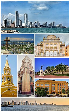 Cartagena, Colombia - Top: Bocagrande Harbour. Second row: View of Santa Cruz Manga Island, Heredia Theatre. Third row: ClockTower (Torre del Reloj), Pilar Republicano, San Felipe Barajas Castle (Castillo de San Felipe de Barajas) (above), Charleston Hotel (below). Bottom: City Skyline.